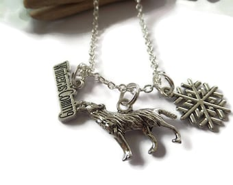 Thrones necklace, sword necklace, direwolf necklace, fandom gift, winter is coming, game fan gift, houses gift, thrones keyring,
