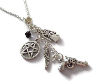 Supernatural necklace, supernatural gift, castiel jewellery, tv fandom gift, winchester gift, pentagram necklace, wing gift, sandykissesuk