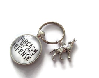 Teen wolf themed glass dome keyring, teen wolf keyring, werewolf gift, sarcasm gift, sarcasm keyring, novelty gift, fandom gift, fan keyring