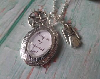 Supernatural locket, wayward son gift, winchester gift, tv fandom gift, supernatural gift, pentagram gift, castiel jewellery,  sandykissesuk