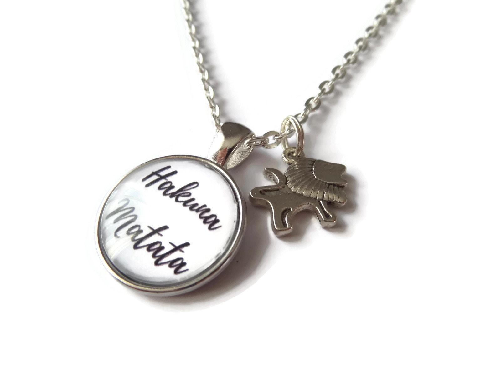 Hakuna Matata Hakuna Necklace Lion Necklace No Worries Gift