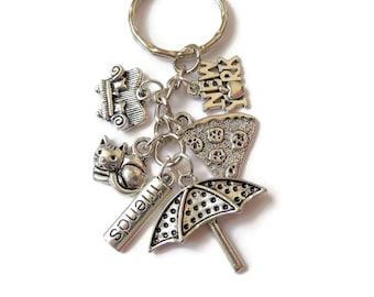 FRIENDS inspired silver tone 6 charm keyring TV phoebe joey chandler etc fan gift UK