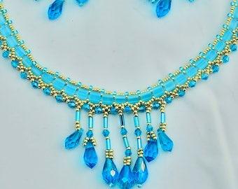 Aqua Blue Beaded Necklace Set