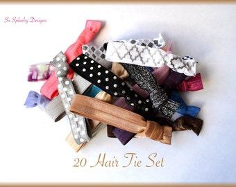 Hair Tie Gift Set! 20 soft elastic hair ties in organza bag. Yoga hair tie edc29fbf8c4