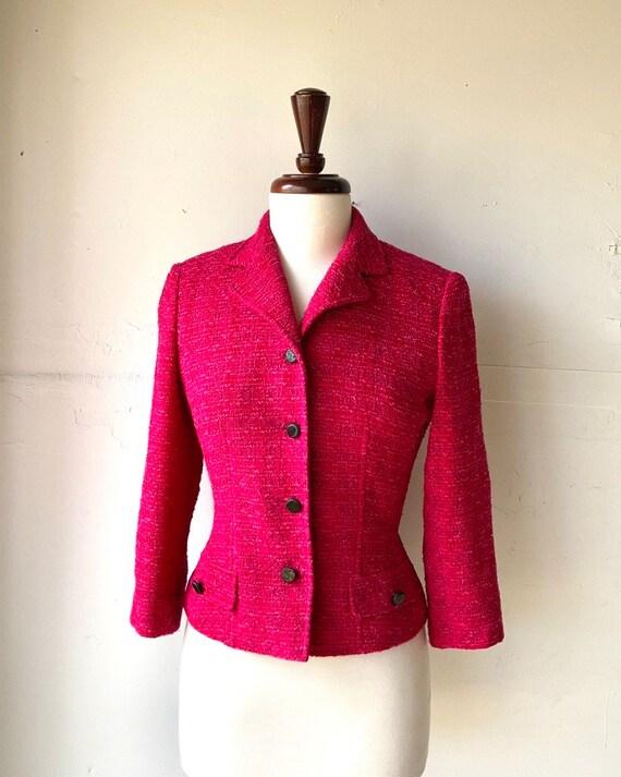 Rickie Freeman for Teri Jon Hot Pink Tweed Blazer-