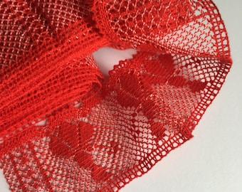 Vintage Wide Trim Red Lace-Vintage Lace