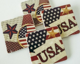 8831ea4a8578 USA Flag Stone Coasters - Patriotic - Natural Stone - Memorial Day -  Veterans Day - July 4th - Set of 4