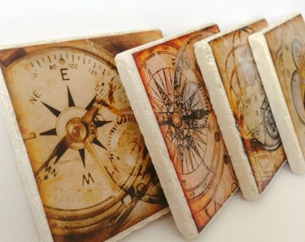 Vintage Watches Coaster Set of 4 - Old Watches Coasters  -  Gift for Him - Great for Office