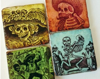 Skeleton Coasters - Day of the Dead - Halloween Coasters - Natural Stone Tiles - Set of 4