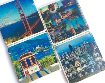 San Francisco Coasters - Golden Gate Bridge - Row Houses - Cable Cars - Travel Coasters - Set of 4