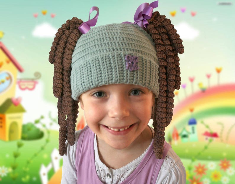 866a7ed94d2 Hat with pigtails funny hat wig hat Crochet hat for