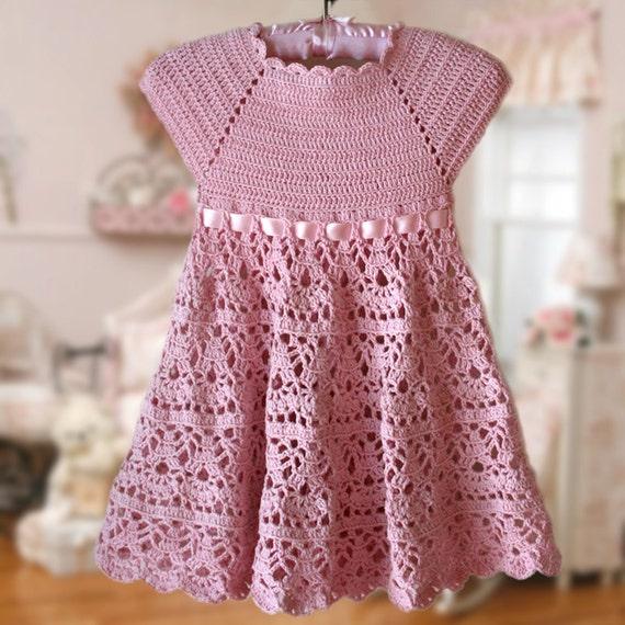 Pink Lace Dress Crochet Pattern Flower Girl Dress Pink Etsy