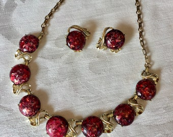 a6fa15950 Vintage CORO Necklace & Clip-On Earring Set Confetti Lucite Necklace and Earring  Set