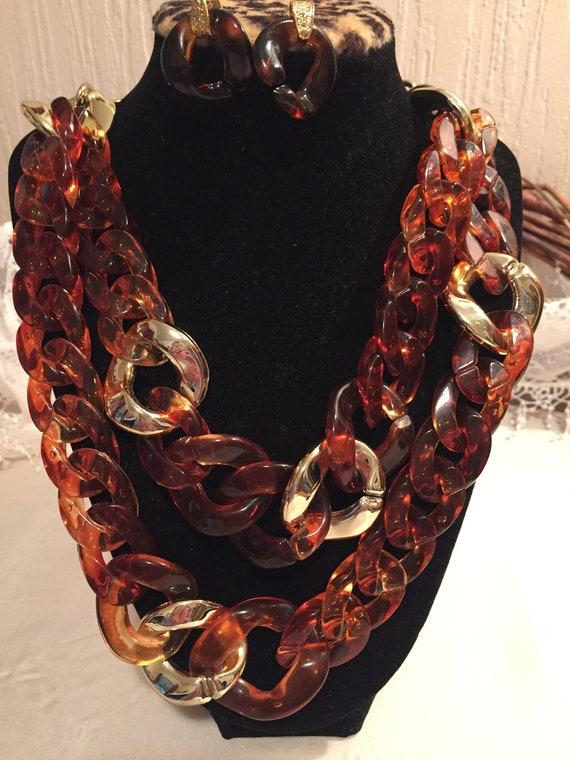 Tortoise Chunky Necklace & Earrings    Tortoise Sh