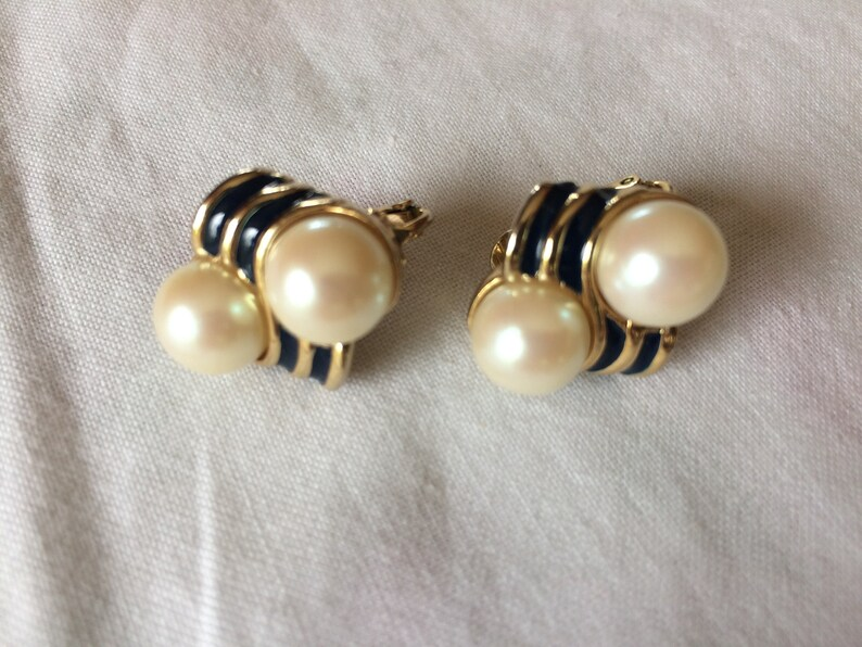 Two Pair of Richelieu Vintage Goldtone and Faux Pearl Earrings