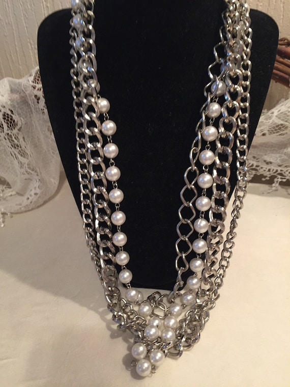 Vintage Multi-Chain Necklace    Heavy Chain-Link N