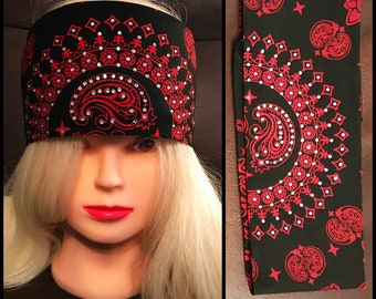 Black and Red Paisley Bling Bandana