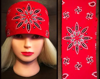 Red Paisley Bling Bandana