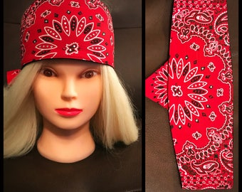 Red Paisley Touch Fastener Headband