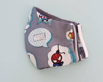 Marvel Facemask, Washable facemask, 100% Cotton Facemask, Reusable Facemask, School Facemask, kids Facemask, Superheroes Facemask, boys mask