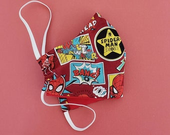 Marvel Facemask, Washable facemask, 100% Cotton Facemask, Reusable Facemask, Back to School Facemask, kids Facemask, spiderman Facemask