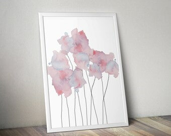Soft, Ethereal Blue & Purple Watercolor Flowers Wall Art Print - 8x10