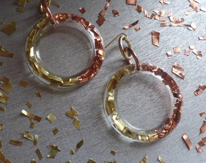 Brass/Copper Triple Ring Earrings