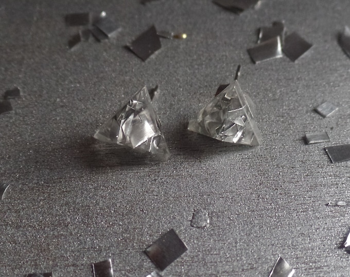 Silver Triangle Studs Earrings