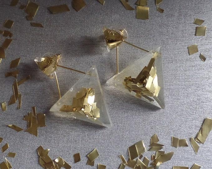 Brass Triangle Duo Studs