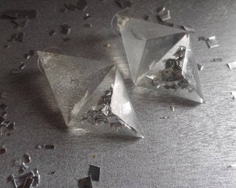 Silver Twin Triangle Stud Earrings