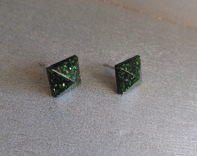 Black Emerald Pyramid Stud Earrings