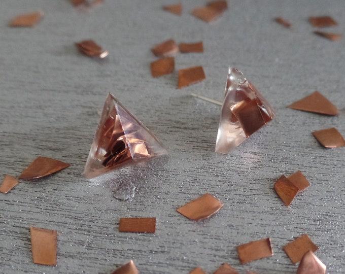 Copper Triangle Stud Earrings