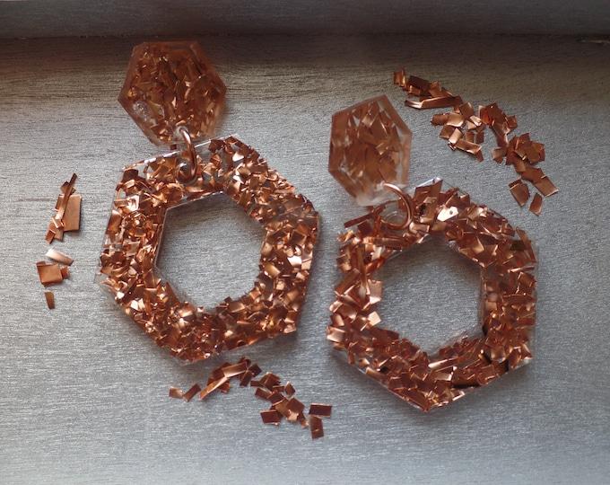 Copper Double Hexagon Drop Earrings