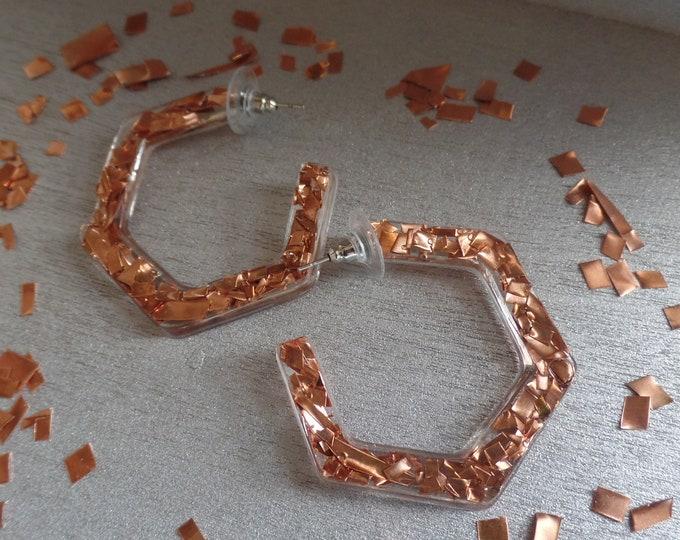 Copper Hexagon Hoop Stud Earrings