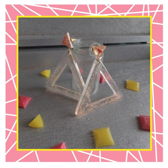 Pink/Yellow Glitter Cut Out Triangle Duo Earrings