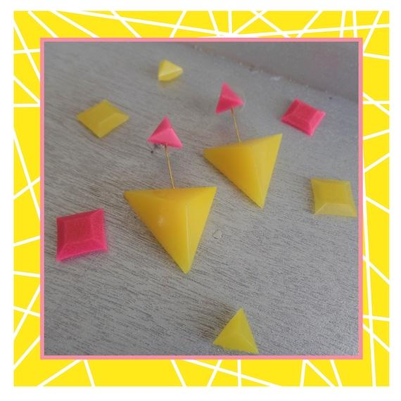 Pink/Yellow Double Triangle Duo Drop Earrings