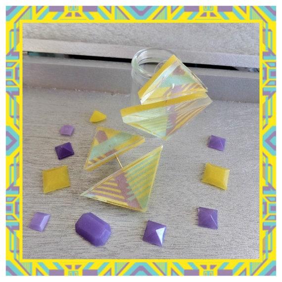 Yellow Patterned Double Triangle Drop Stud Earrings