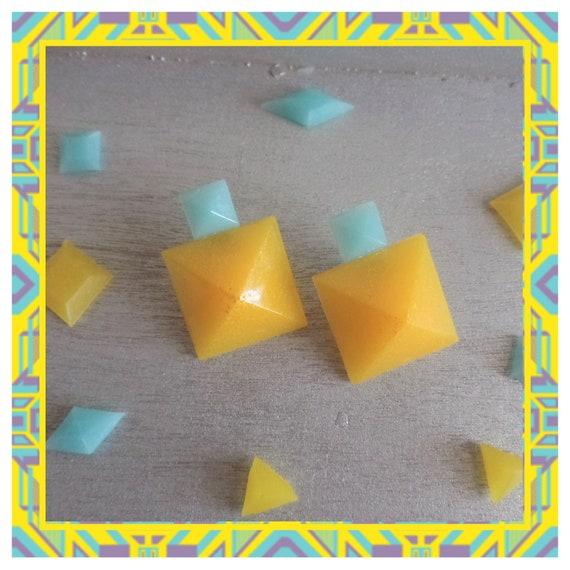Aqua/Yellow Double Pyramid Stud Earrings