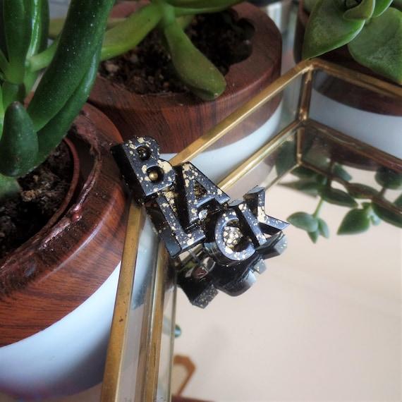 Gold Splatter BLACK Pin