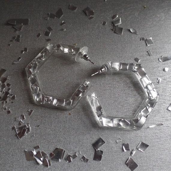 Silver Hexagon Hoop Stud Earrings
