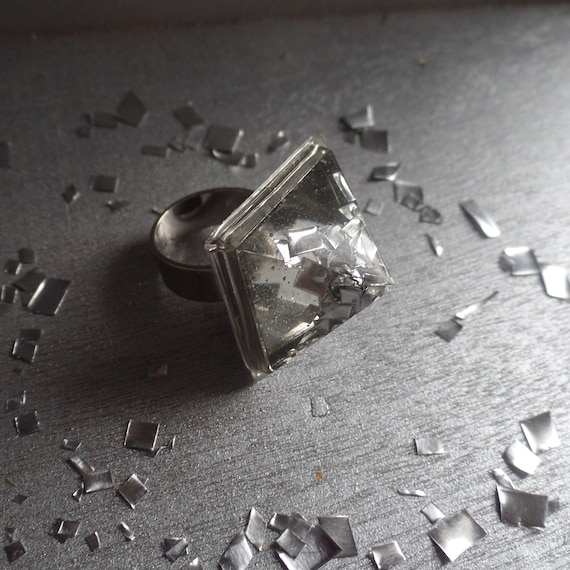 Adjustable Silver Pyramid Statement Ring