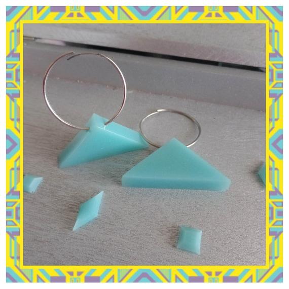 Aqua Triangle Hoop Earrings