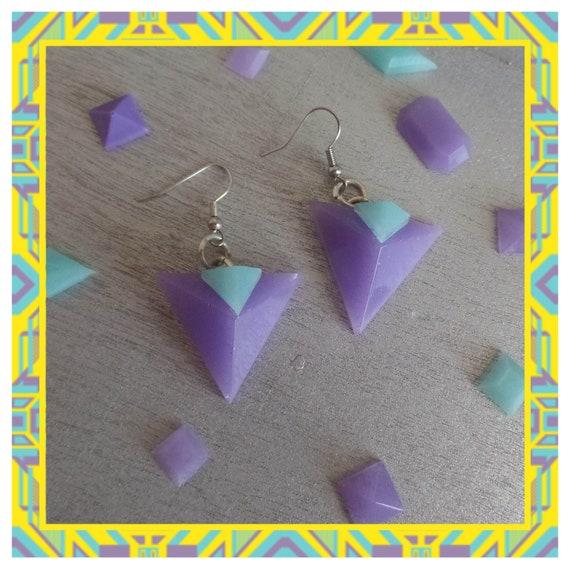 Aqua/Purple Double 3D Triangle Dangle Earrings
