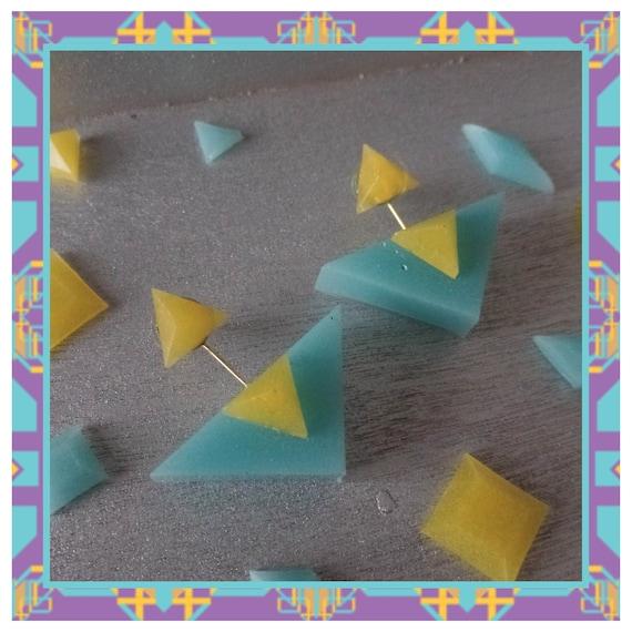 Yellow/Aqua Triple Triangle Drop Due Earrings
