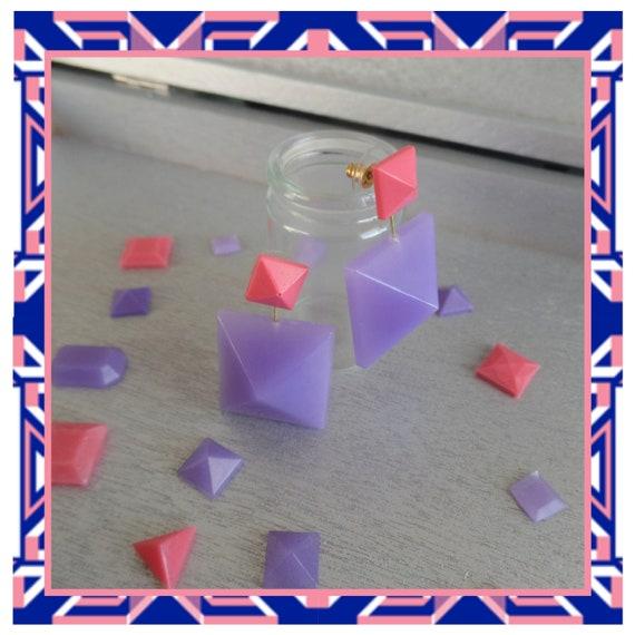 Pink/Purple Double Pyramid Duo Earrings