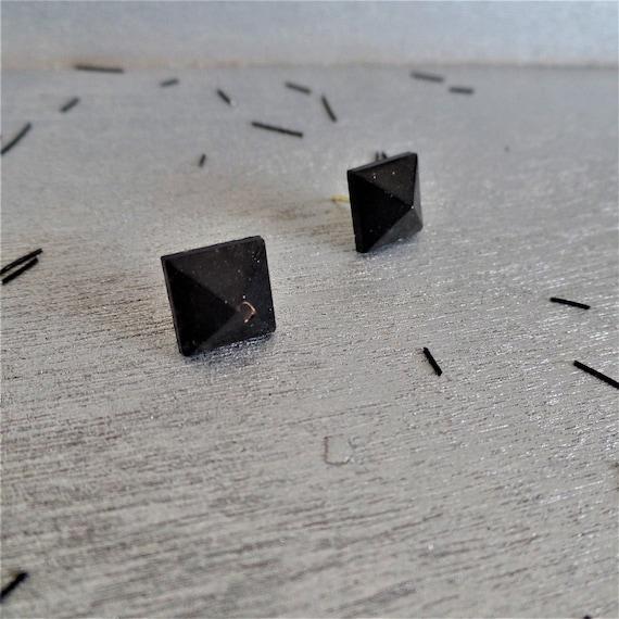 Black Pyramid Stud Earrings