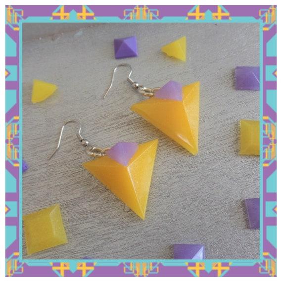 Yellow/Purple Double 3D Triangle Dangle Earrings