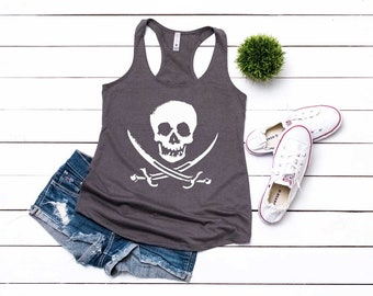 6eee84a80fa820 Pirate Shirt. Skull Shirt. Pirate Clothes. Super Soft   Comfy Terry  Racerback Tank Top. Gasparilla Tank. Women s Pirate Tank. Skull Tank Top
