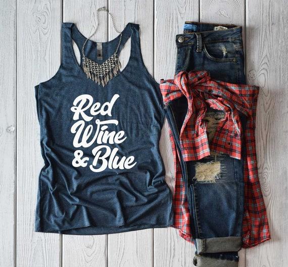 b30ec9be 4th of July Shirt. Red Wine & Blue Shirt. Patriotic Tank Top. | Etsy
