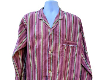 Vintage 1970's pink, yellow and white striped permanent press cotton men's pajama top